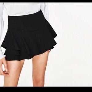Zara Black Ruffle Skort